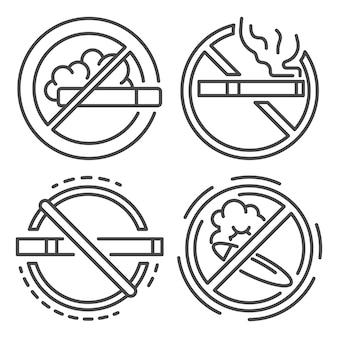 Insieme dell'icona del segno non fumatori. insieme del profilo delle icone di vettore del segno non fumatori