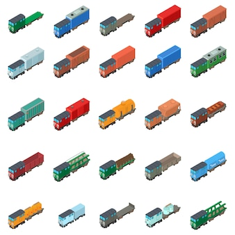 Insieme dell'icona del trasporto ferroviario
