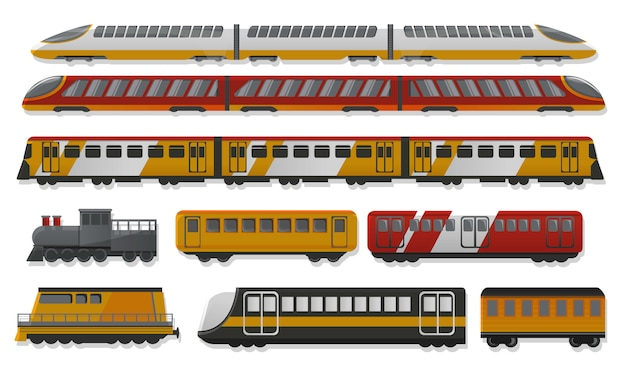 Insieme dell'icona del treno della metropolitana, stile del fumetto