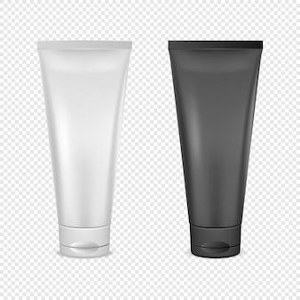 Insieme dell'icona del tubo di crema bianco e nero.