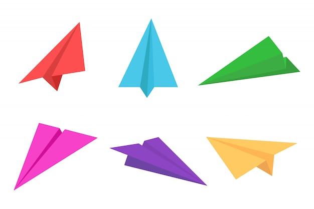 Insieme dell'icona dell'aeroplano di carta o aereo variopinto di carta