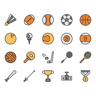 Insieme dell'icona dell'attrezzatura della palla di sport
