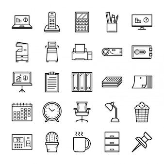 Insieme dell'icona dell'attrezzatura per ufficio, insieme dell'icona degli strumenti dell'ufficio