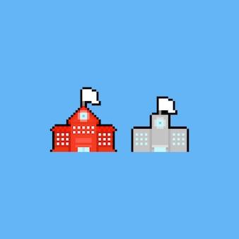 Insieme dell'icona dell'edificio scolastico di arte del pixel.
