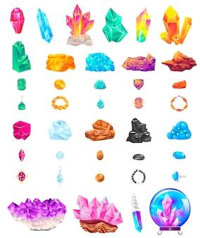 Insieme dell'icona dell'illustrazione della gemma di pietra di cristallo, minerale geologico cristallino del fumetto, pietra preziosa preziosa magica per gioielli