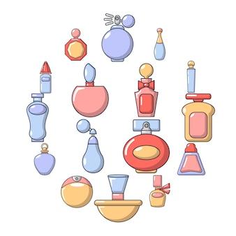 Insieme dell'icona della bottiglia di profumo, stile del fumetto