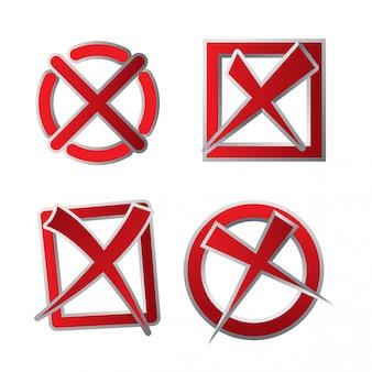 Insieme dell'icona della casella di controllo di colore rosso declinato