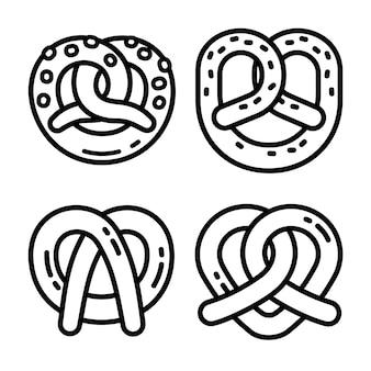 Insieme dell'icona della ciambellina salata bavarese, stile del profilo