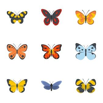Insieme dell'icona della farfalla di notte, stile piano