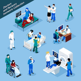 Insieme dell'icona della gente isometrica del paziente e del dottore