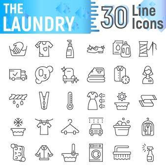 Insieme dell'icona della linea di lavanderia, raccolta di simboli puliti,