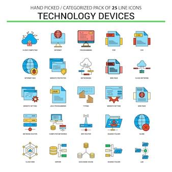 Insieme dell'icona della linea piatta del dispositivo di tecnologia