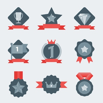 Insieme dell'icona della medaglia e del vincitore.