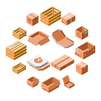 Insieme dell'icona della scatola di imballaggio, stile isometrico 3d