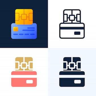 Insieme dell'icona delle azione di vettore della carta di credito e del chip.