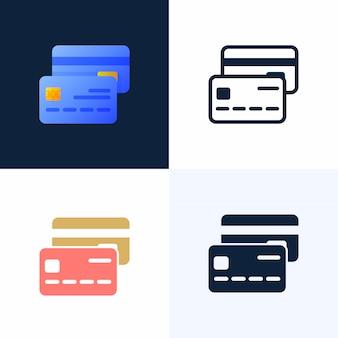 Insieme dell'icona delle azione di vettore della carta di credito.