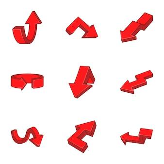 Insieme dell'icona delle frecce di direzione, stile del fumetto