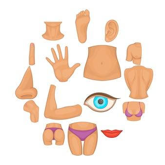 Insieme dell'icona delle parti del corpo, stile del fumetto