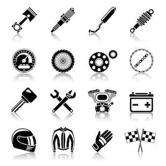 Insieme dell'icona delle parti del motociclo del nero
