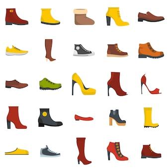 Insieme dell'icona delle scarpe delle calzature isolato