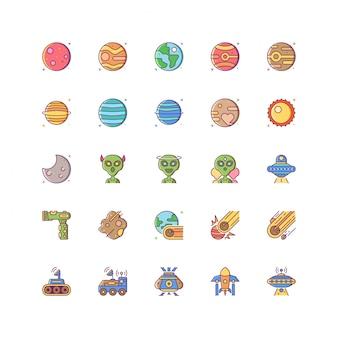 Insieme dell'icona dello spazio colorato con la linea riempita di stile variopinto isolata