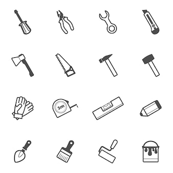 Insieme dell'icona dello strumento della costruzione e di riparazione di vettore