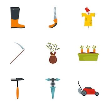 Insieme dell'icona di attrezzo agricolo, stile piano