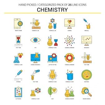 Insieme dell'icona di chimica linea piatta