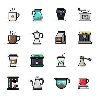 Insieme dell'icona di colore pieno degli elementi del caffè di barista del negozio