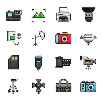 Insieme dell'icona di colore pieno degli elementi della foto della macchina fotografica di fotografia