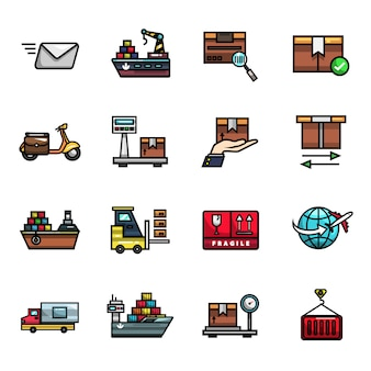 Insieme dell'icona di colore pieno degli elementi di consegna dei pacchi di logistica di trasporto