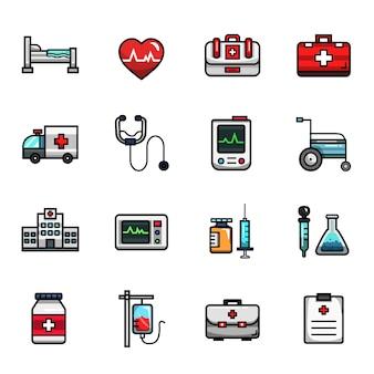 Insieme dell'icona di colore pieno degli elementi di salute medica dell'ospedale
