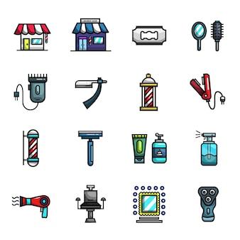 Insieme dell'icona di colore pieno degli elementi di taglio di capelli del negozio di barbiere