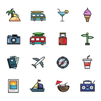 Insieme dell'icona di colore pieno degli elementi di vacanza di viaggio di vacanza