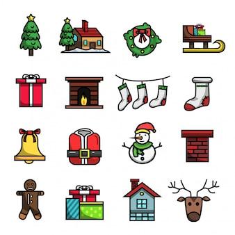 Insieme dell'icona di colore pieno degli elementi di vacanza invernale di natale