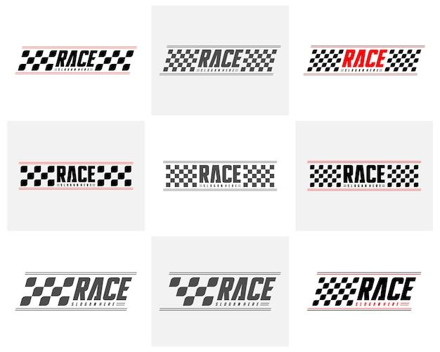 Insieme dell'icona di concetti di progettazione della bandiera della corsa