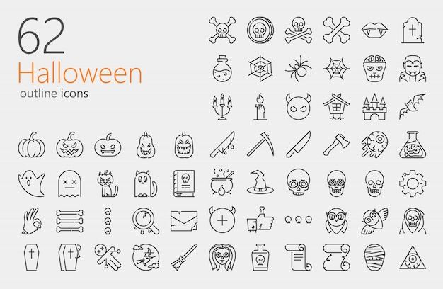 Insieme dell'icona di contorno di halloween