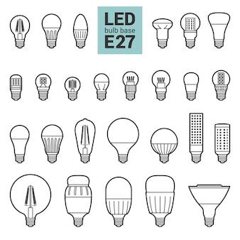 Insieme dell'icona di contorno di lampadine e27 a led