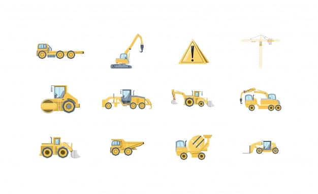 Insieme dell'icona di costruzione isolata