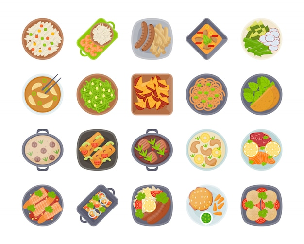 Insieme dell'icona di diversi tipi di primo piano della tavola dell'alimento della cena sui piatti, vista superiore sui piatti classici della cena diversi paesi del mondo. cibo da cucine nazionali su un tavolo.