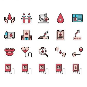 Insieme dell'icona di donazione di sangue