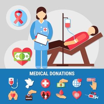 Insieme dell'icona di donazioni mediche