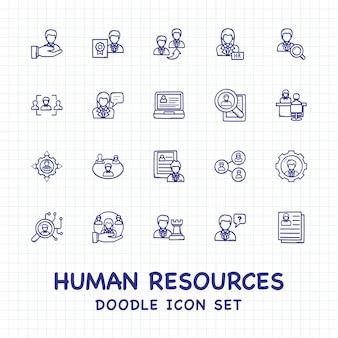 Insieme dell'icona di doodle delle risorse umane