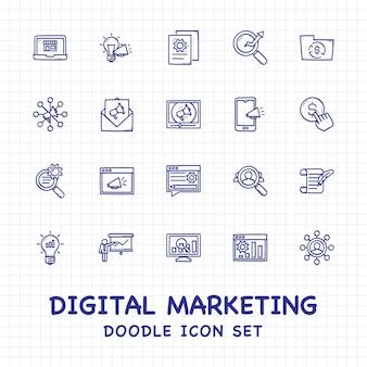 Insieme dell'icona di doodle di marketing digitale