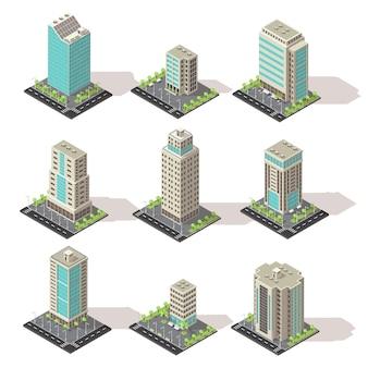 Insieme dell'icona di edifici per uffici isometrica
