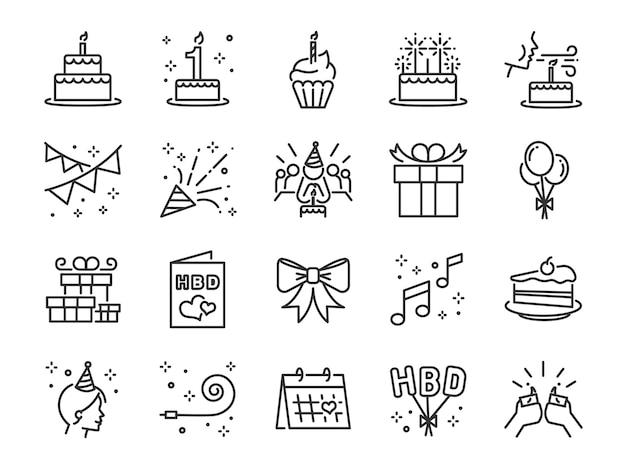 Insieme dell'icona di happy birthday party line.