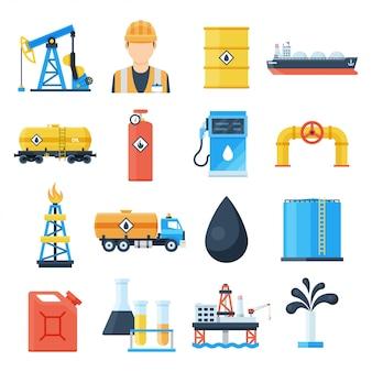 Insieme dell'icona di industria petrolifera