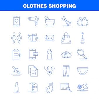Insieme dell'icona di linea di acquisto di vestiti