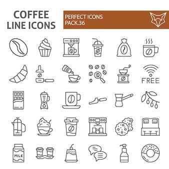 Insieme dell'icona di linea di caffè, collezione di caffè