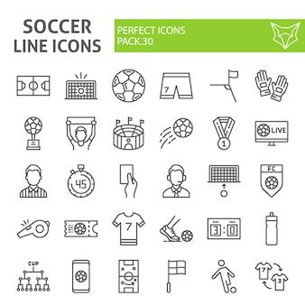 Insieme dell'icona di linea di calcio, collezione di calcio